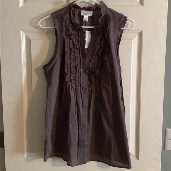 Loft taupe button down sleeveless top, size large